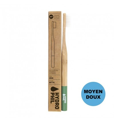 Sustainable bamboo toothbrush - Green - medium soft - Hydrophil